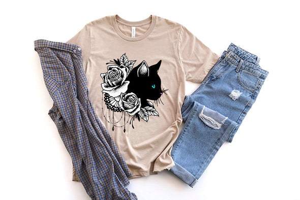 Black Cat With Roses T-Shirt Short Sleeve