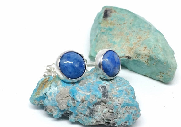 Denim Lapis Stud Earrings