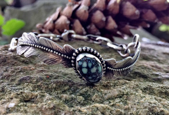 Variscite Feather Bangle Bracelet