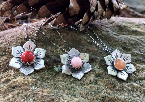 Peruvian Opal flower Necklace