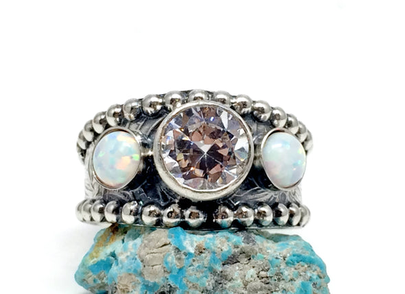 Opal western wedding ring