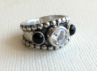 Black Onyx Western Ring with CZ