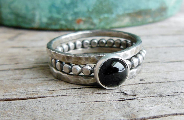 black onyx stacking rings