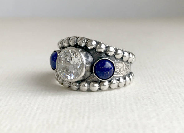 Western Lapis Wedding Ring with CZ