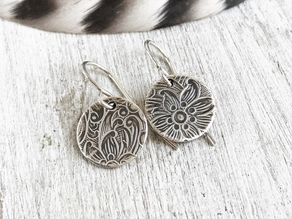Rustic Floral disc earrings