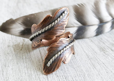 Feather Wrap Ring Copper or Silver