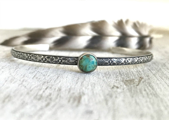 Floral Boho Turquoise Cuff Bracelet