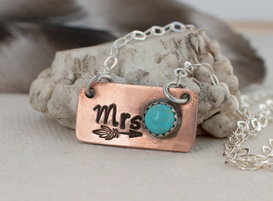 Personalized Initial necklace Mrs. Necklace