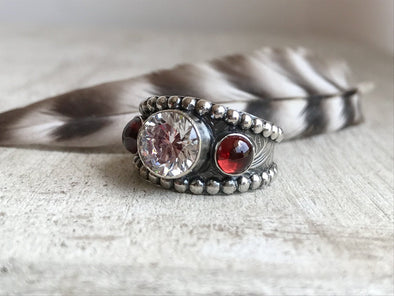 Western Garnet Wedding Ring
