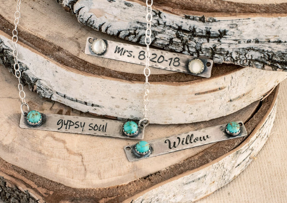 Personalized Turquoise Bar Necklace