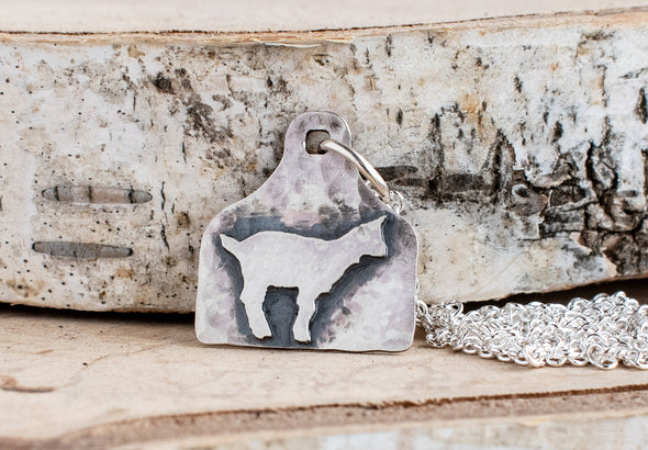 sterling silver goat necklace