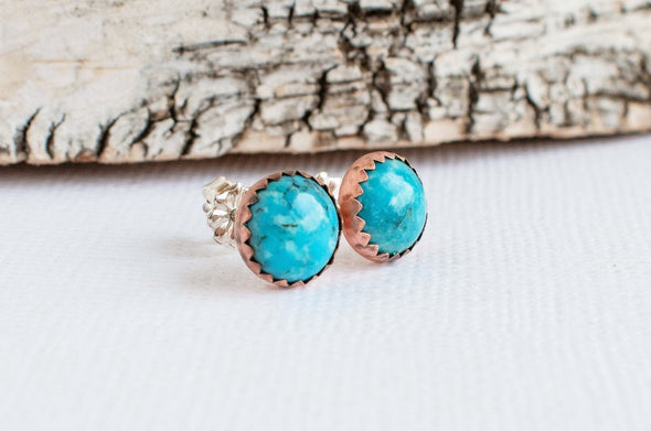Copper turquoise studs