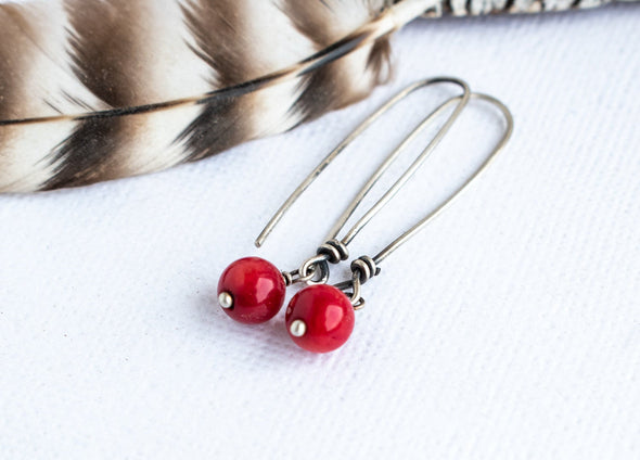 Red Coral Long Earrings