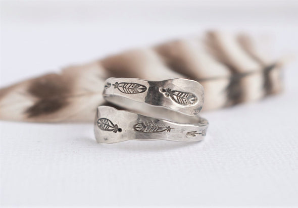 Feather Stamped Thumb Ring