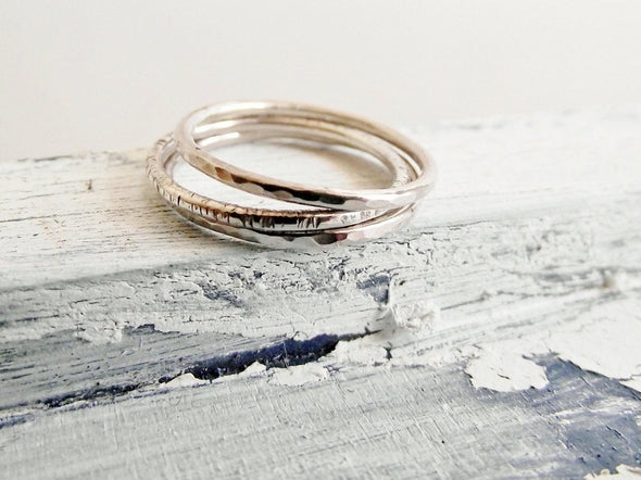 Three Textured Stacking Rings
