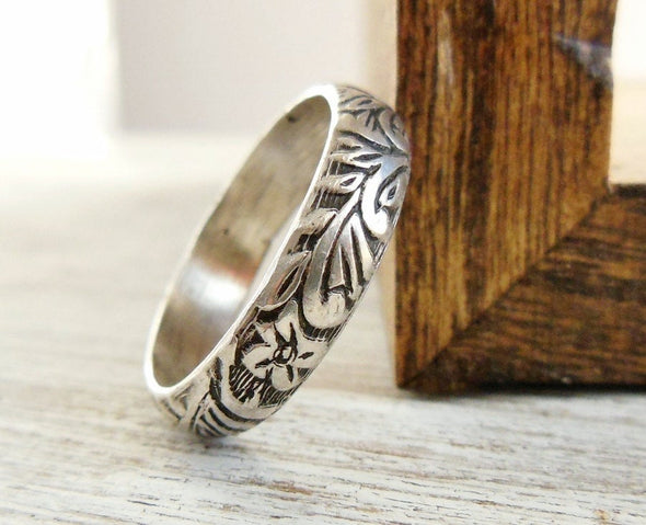 Floral Pattern Ring Personalize