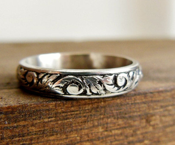 Filigree Personalized Engrave-able Ring