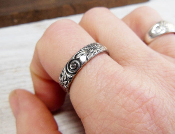 Silver Floral Ring Personalized