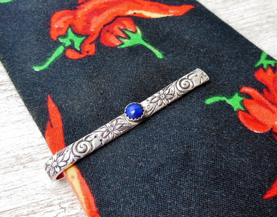 Sterling Tie Clip, Necktie Bar with lapis Lazuli Fathers day, Fancy Tie Bar