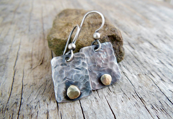 Sterling Silver Earrings with Brass Pebbles