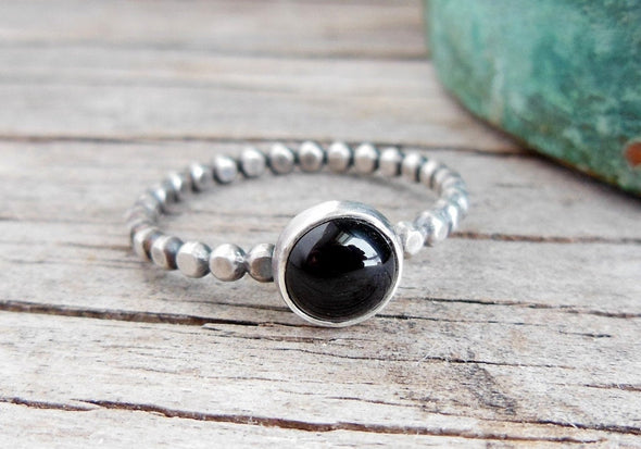 Black Onyx stacking Ring - Bead Band
