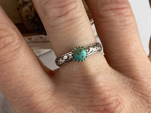 Turquoise Ring with Vine