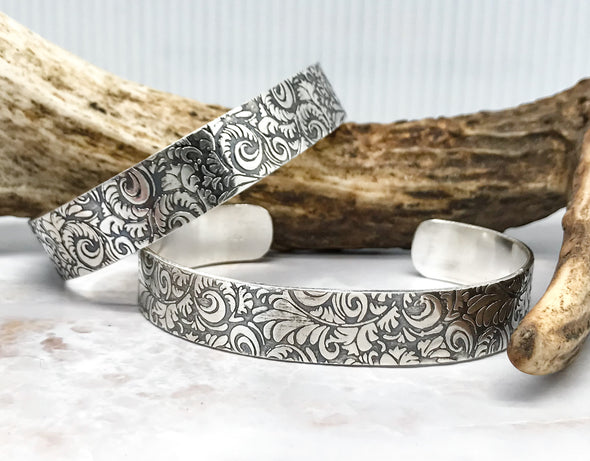 Tooled leather look cuff bracelet