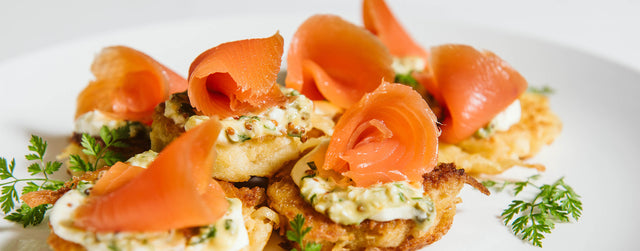 Potato latkes with aoraki cold smoked salmon shavings