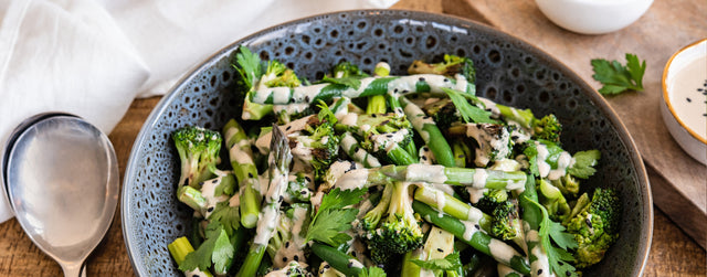Asparagus, broccoli and bean salad with tahini dressing
