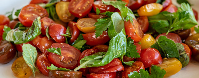Marinated cherry tomatoes with balsamic and Italian herbs