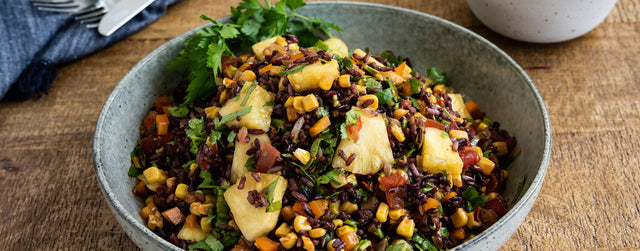 Pineapple and corn mixed rice salad