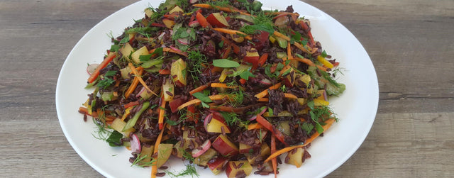 Black rice and plum salad