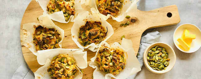 Savoury gluten free pumpkin, sweet potato, spinach and feta muffins
