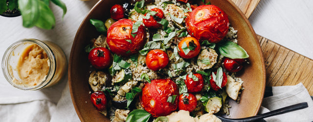 Roasted balsamic tomato and bulgar wheat salad