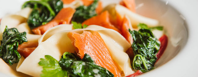 Hot smoked salmon creamy spinach pappardelle