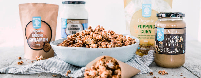 Peanut butter and cinnamon caramel popcorn