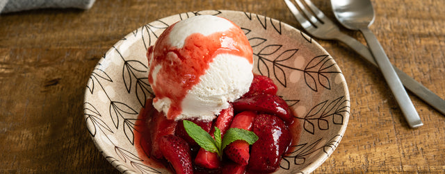 Spiced strawberries and coconut ice cream