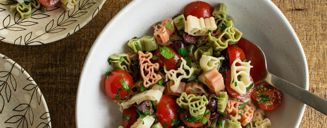 Kids cherry tomato and olive pasta salad