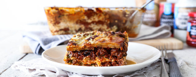 Sweet potato beef lasagne with spinach