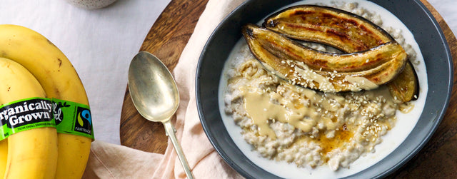 Buckwheat porridge with toasted maple bananas