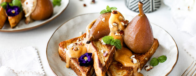 Coconut french toast with pear and date caramel