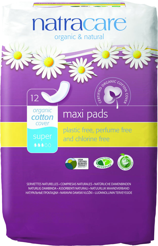 Natracare Organic Press On Maxi Pads Super