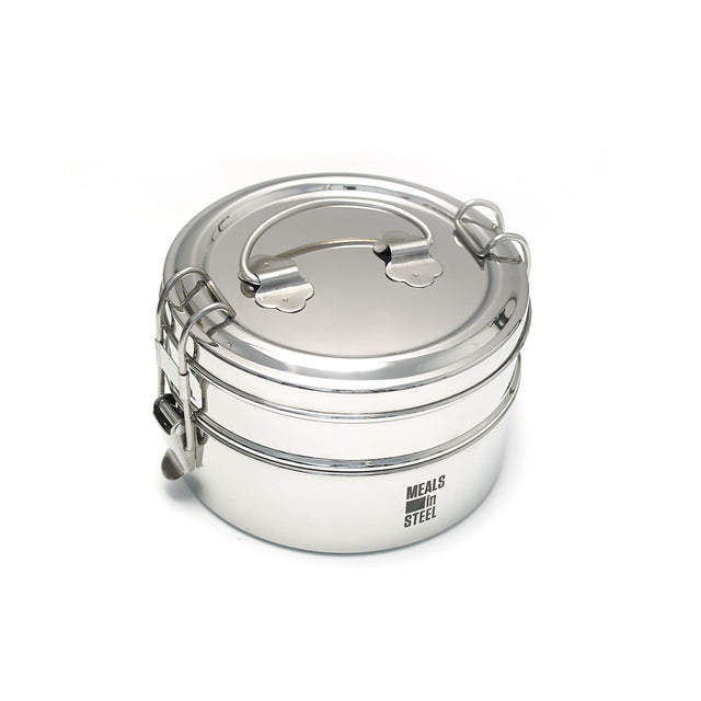 Meals in Steel Lunch Box Round Double Layer