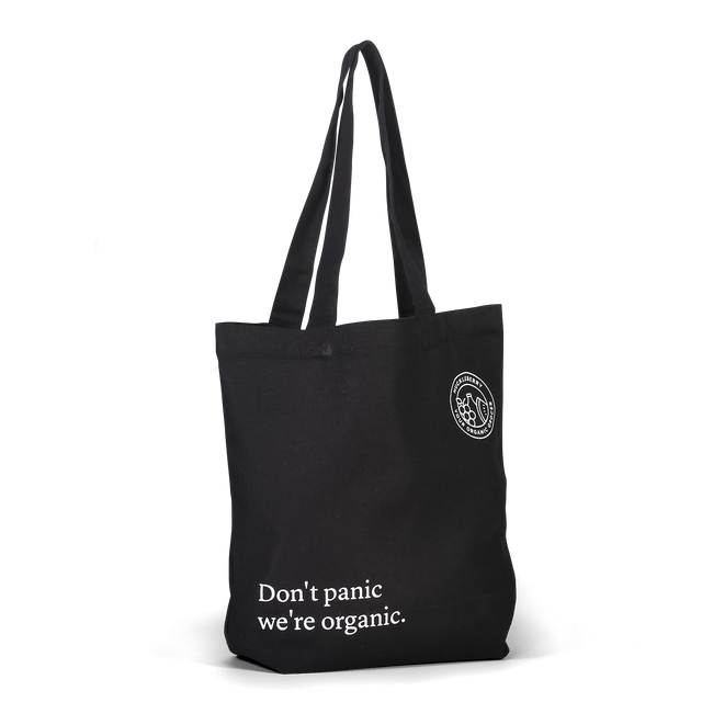 Huckleberry Tote Bag Don't Panic Where Organic