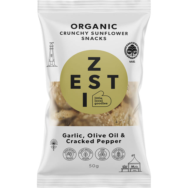 Zesti Organic Sunflower Snacks Garlic, Olive Oil & Cracked Pepper