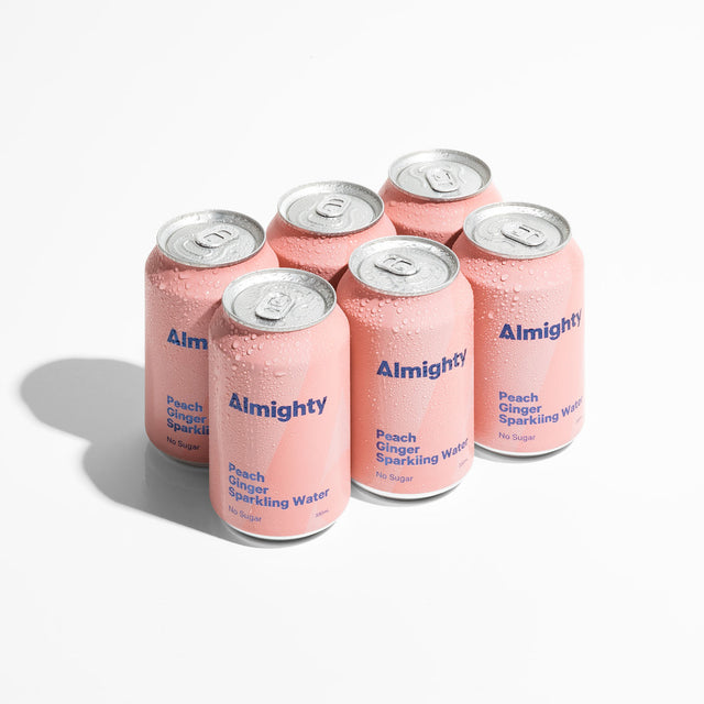 Almighty Peach Ginger Sparkling Water 6 pack