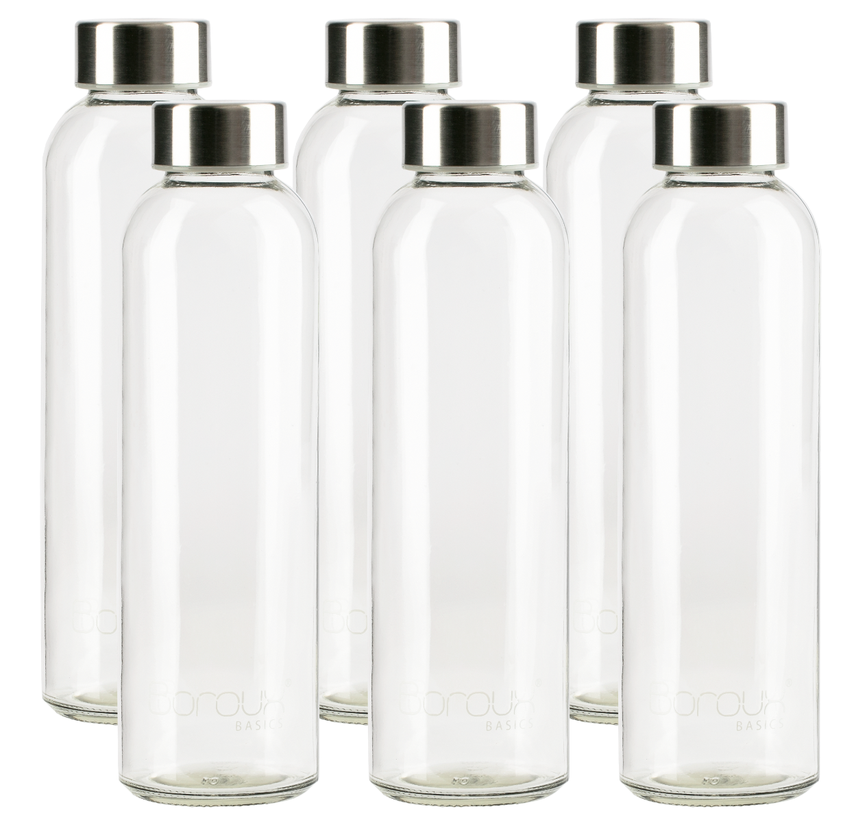 Boroux 4 Pack Glass Water Bottle