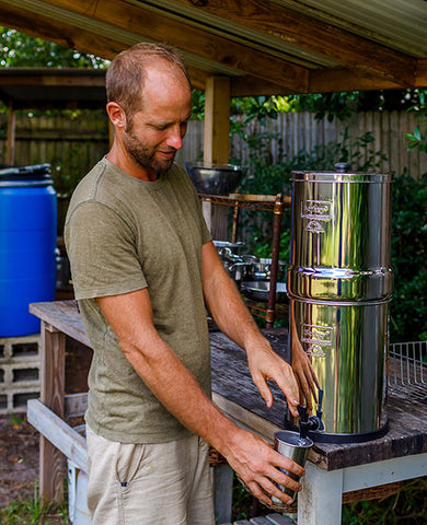 A Prepper Getting Water from His Berkey