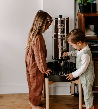 Kids with Berkey Water Filter System