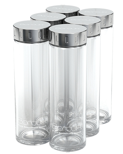 Boroux Glass Water Bottle 6 Pack